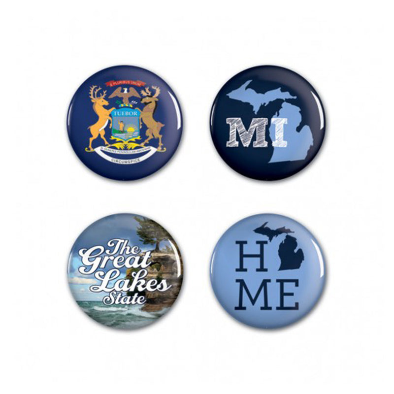 GR8ST8 4pk Michigan Buttons
