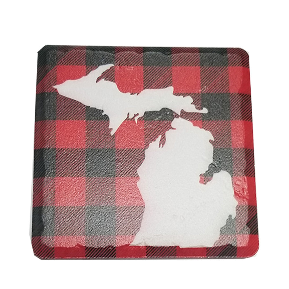 GR8ST8 Plaid State Of Michigan Coaster