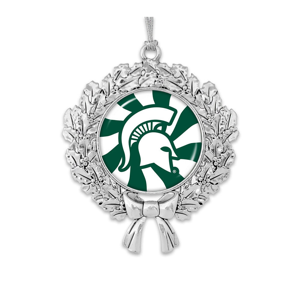 MSU Snow Wreath Ornament