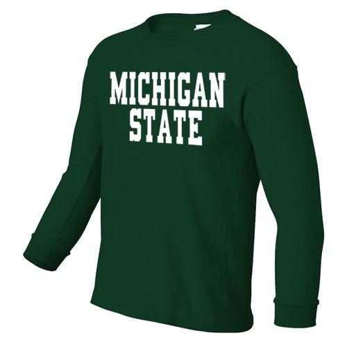 Blocky Text MSU B Youth Long Sleeve T-Shirt