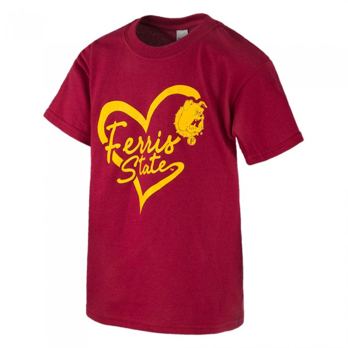 Script Heart Ferris State HNL Youth T-Shirt
