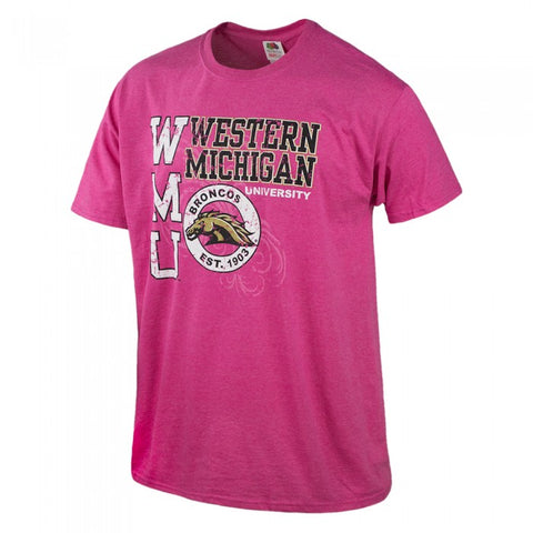 Distressed Tonal WMU Pink T-Shirt