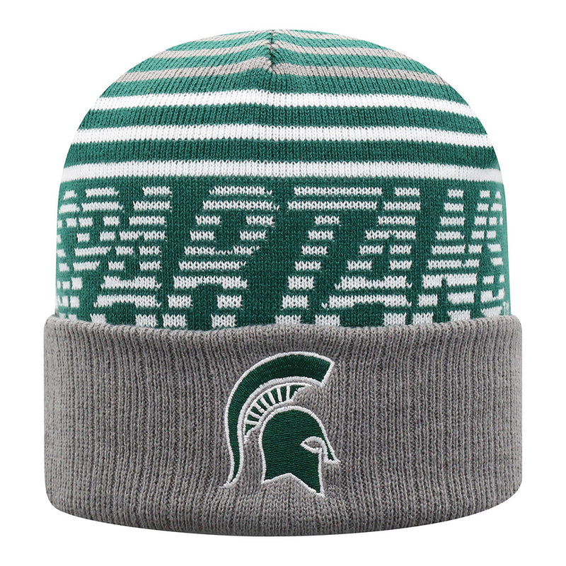 MSU Striped Spartans Cuffed Knit Hat