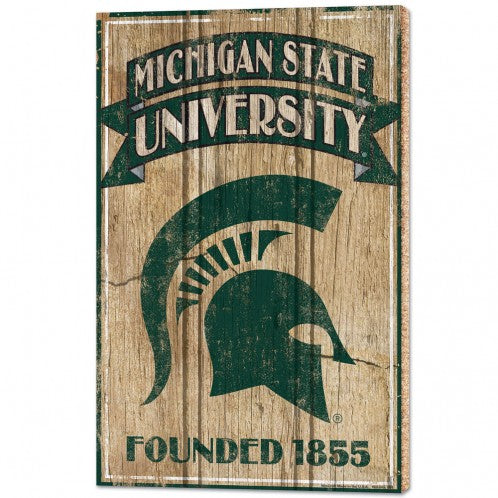 MSU Founded 1855 Wood Sign
