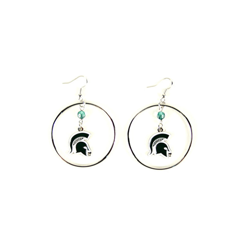 MSU Dangle Spartan Head Earrings