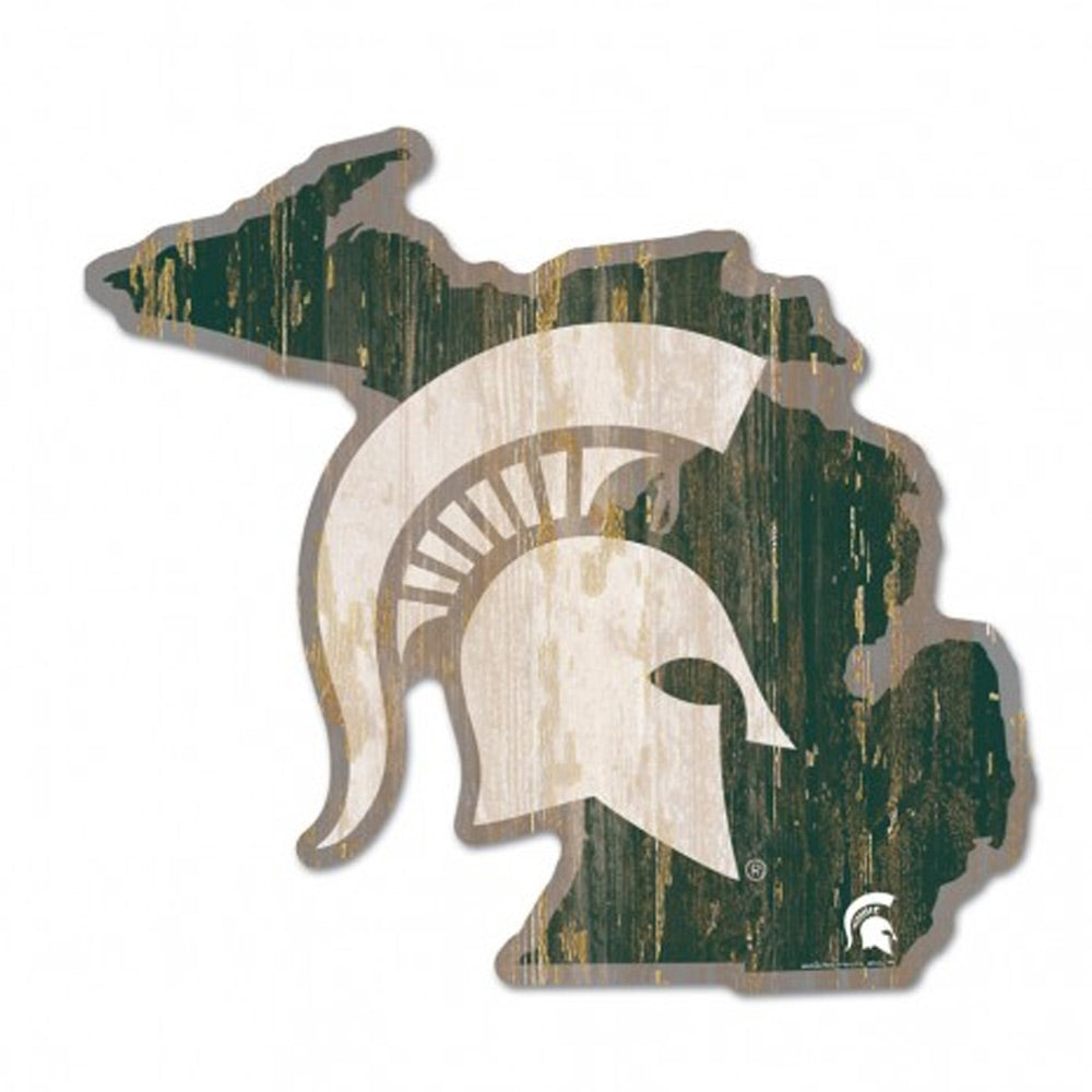 MSU State of Mi With Spartan Head Sign
