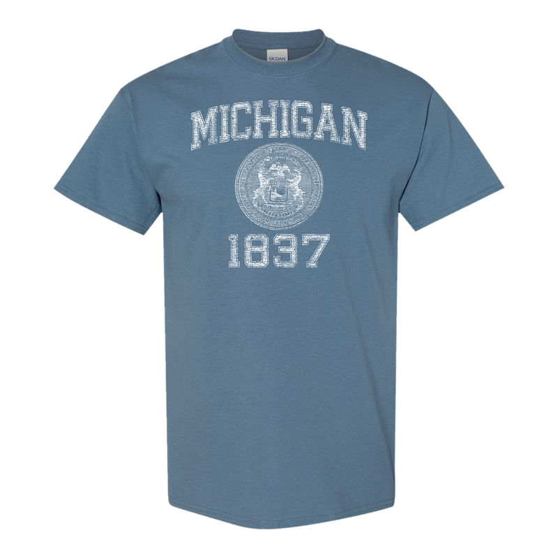 Stamp of Approval Michigan Seal 1837 GR8ST8 TUEB T-Shirt