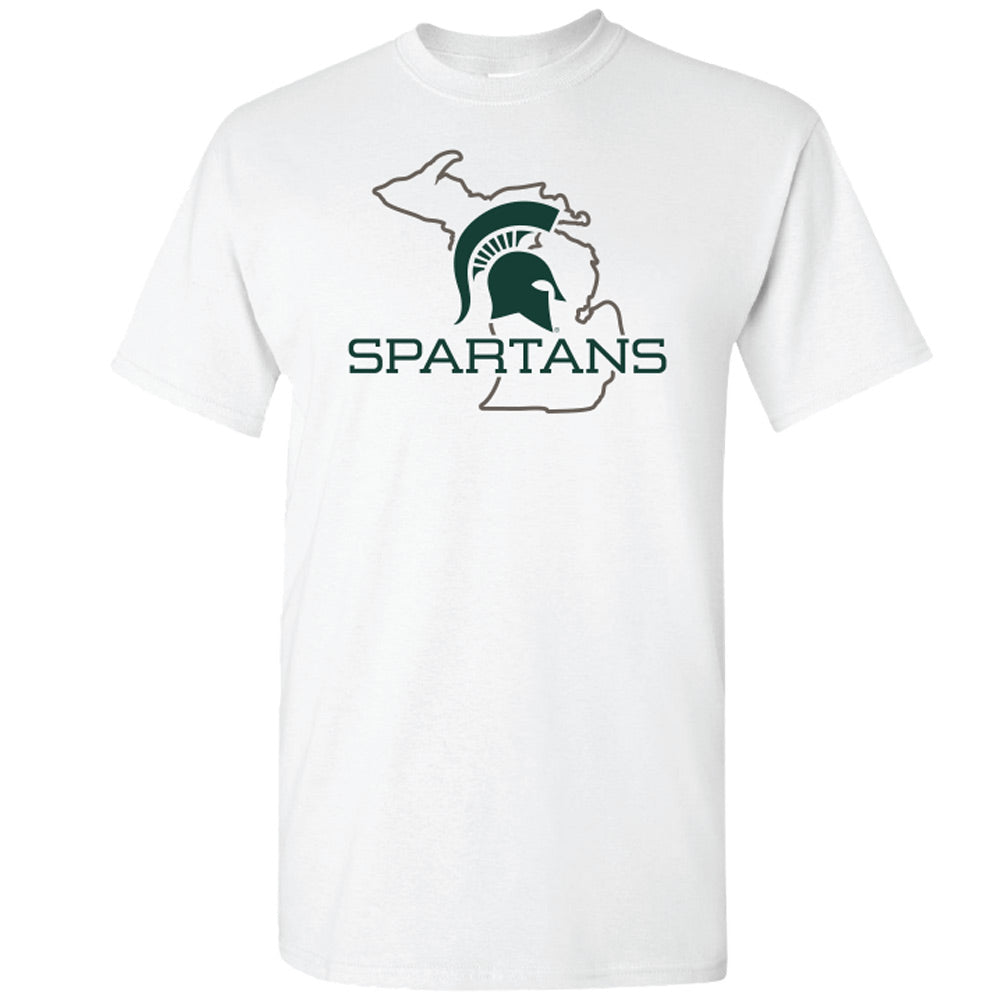 Premium Spartans State Outline MSU T-Shirt