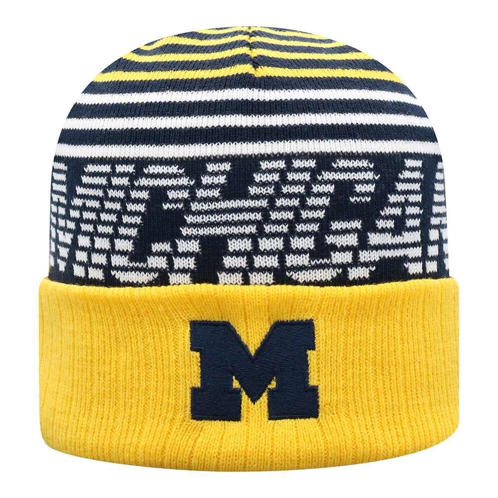 UM Striped Michigan Knit Hat