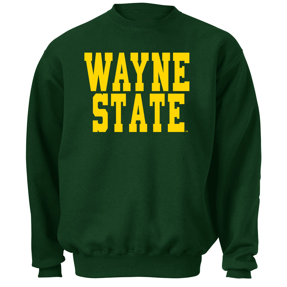 Blocky Text Wayne State B Crew