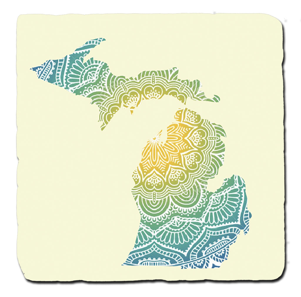 GR8ST8 Colorful Michigan Pattern Coaster