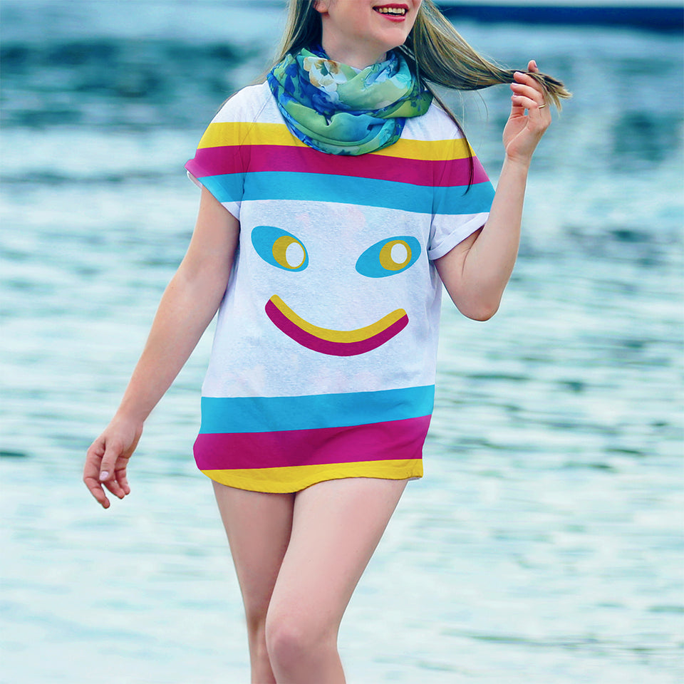 Hey Lollipop designer stripy t-shirt. Colourful, Unique and Bright Clothing Style for Adventurers and Travel lovers. Funky and Fun Design. Wearable Art - HEY LOLLIPOP