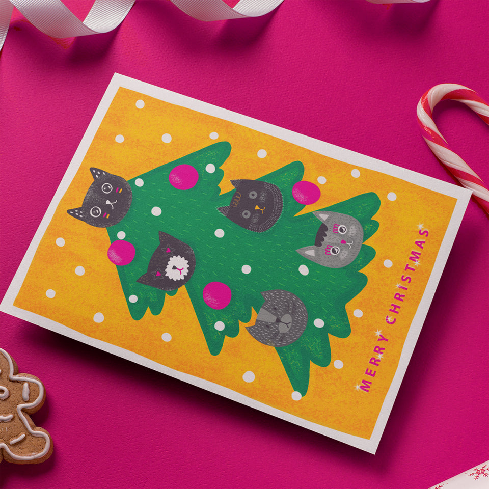 Hey Lollipop art prints and greeting cards. Christmas greeting cards - cats on a Christmas tree. yellow, green, pink. Cute adorable, kawaii design. Christmas gift, present for cat lovers, cat lady, pets owners. Joyful Happy fun illustration, bright print. Cute gift, wall decor