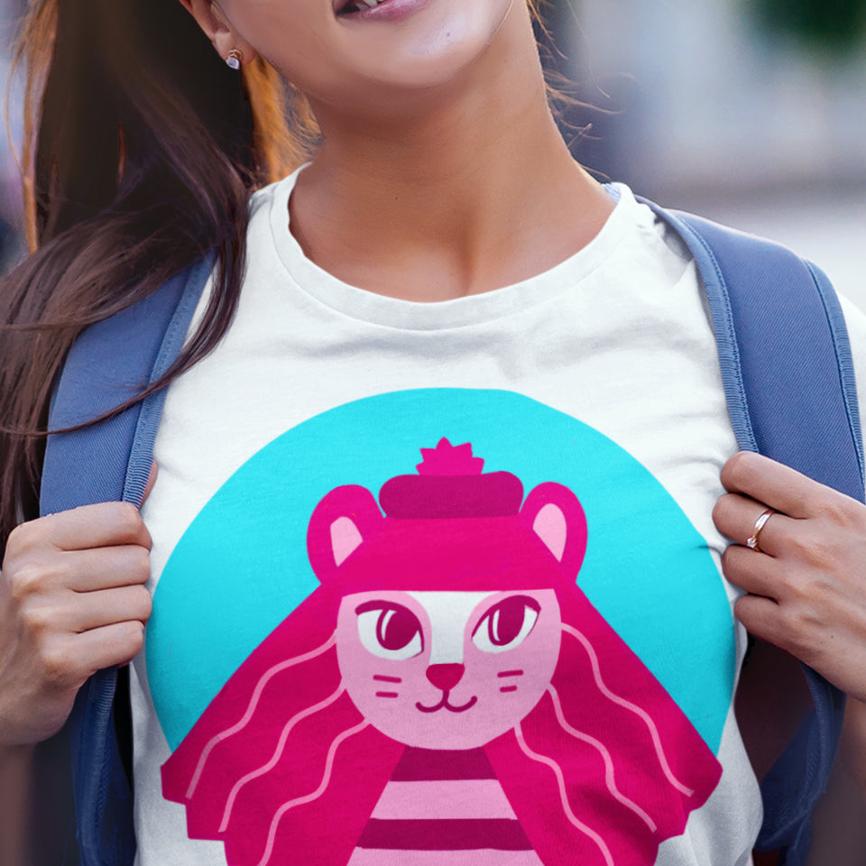 Hey Lollipop colourful t-shirt, Bright designer t-shirt, women t-shirt, red cat t-shirt, pink cat t-shirt, cat in beret print, cat clothing print, screen-printed t-shirt, animal design, cat illustration, Quirky clothing, funky clothes, women colourful clothes, rainbow style, Art shop, Art studio