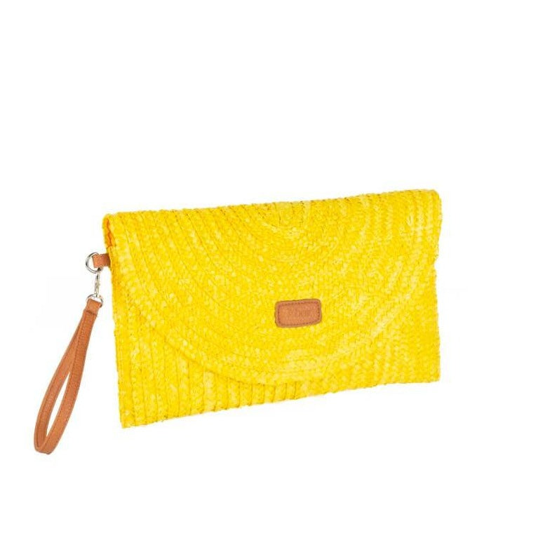 Cartera paja natural amarillo Lavinia