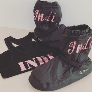 Warm Up Booties personalised with name