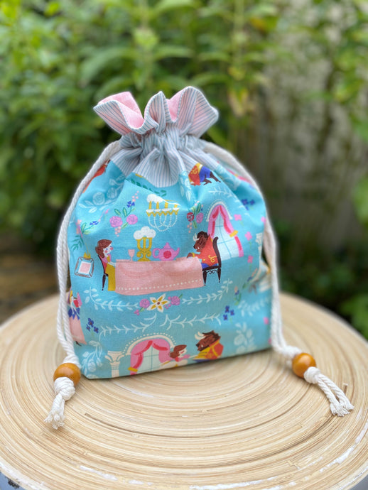 Drawstring Project Bag - Beauty & the Beast - Small