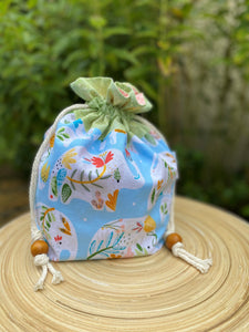 Drawstring Project Bag - Elephants - Small