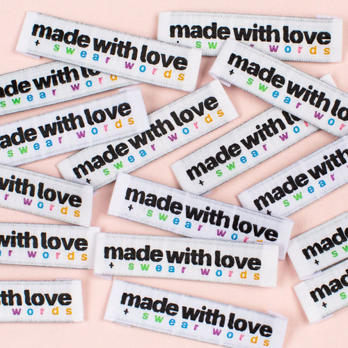 Made With Love + Swear Words - Kylie and the Machine woven labels