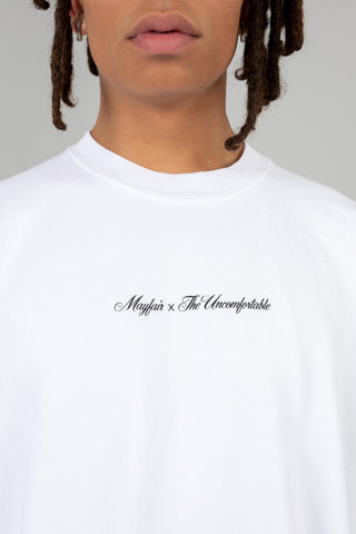 MAYFAIR X THE UNCOMFORTABLE WHITE CREWNECK