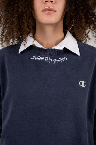 Vintage Follow the Feeling Navy Champion Crew