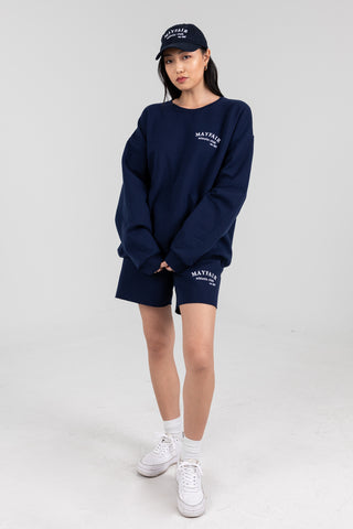 'Mayfair Athletics' Navy Crewneck