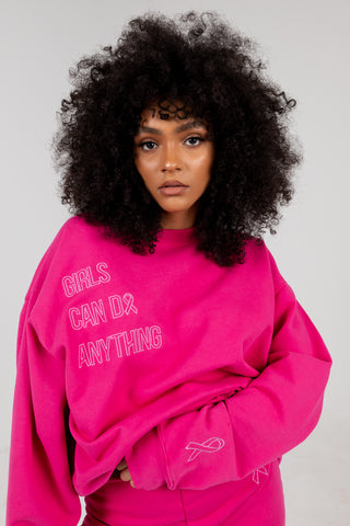 Girls Can Do Anything Pink Crewneck