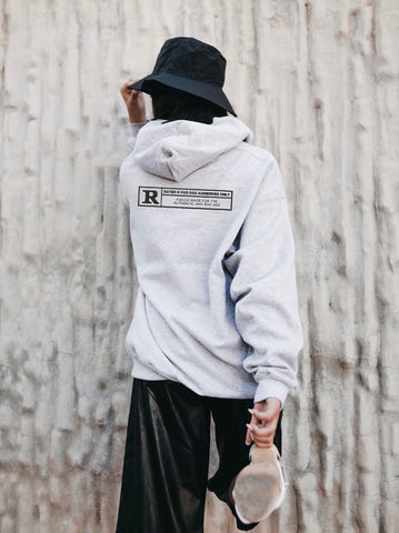 'Rated R' Oversized Grey Hoodie