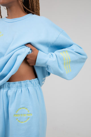 """Power To The Youth"" Blue Sweatpants"