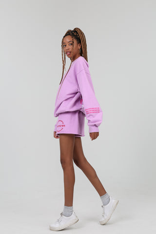 """Power To The Youth"" Lilac Shorts"