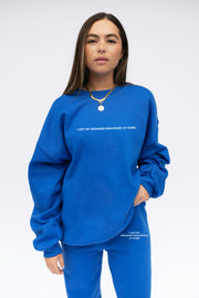 'Left My Designer' Royal Blue Crewneck