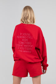 'If You're Reading This...' Red Crewneck