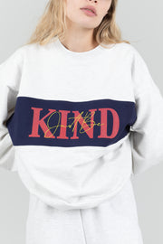 JUST BE KIND GREY CREWNECK
