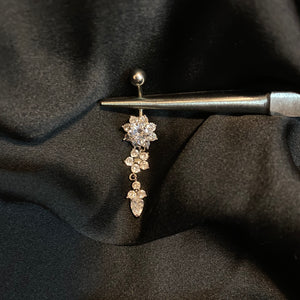 Flower Ice Dangle Belly Ring - AmiriBeautyBar