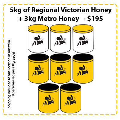 Off Site Hive Sponsorships - 5kg Regional Victorian Honey + 3kg Metro Honey