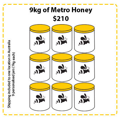 Off Site Hive Sponsorships - 9kg Metro Honey