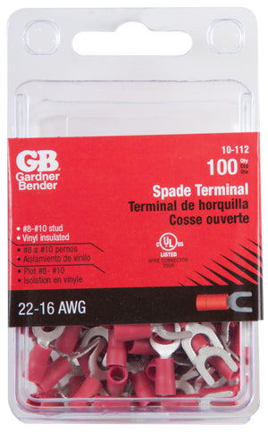 Gardner Bender 10-112 #22-#18 AWG (0.8 mm²) Vinyl-Insulated Spade Terminals (8 to 10 Stud)