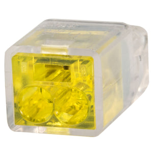 King Innovation 67205 Contractor's Choice 2-Port Push-in Wire Connector, Yellow; 100/Box