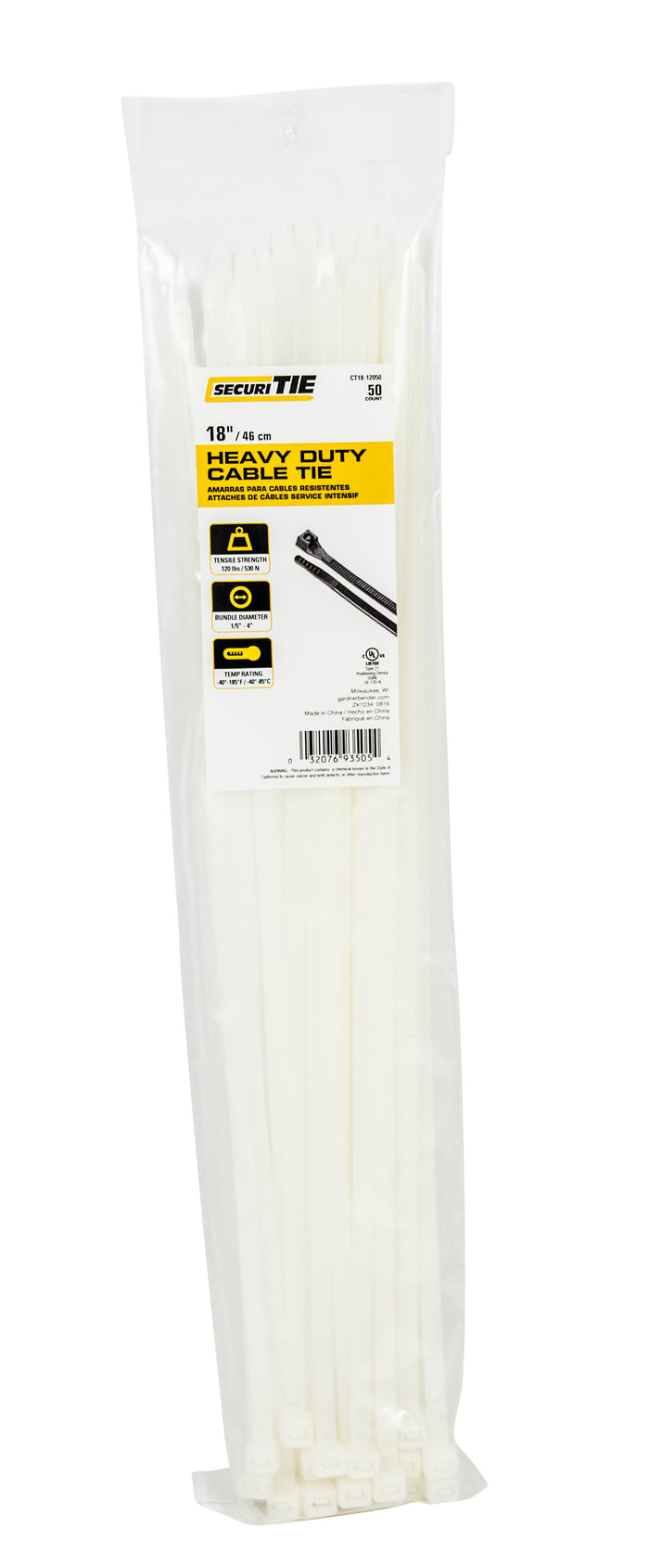 "Gardner Bender CT18-12050 Cable Tie Heavy-duty 18"" 120lb Natural; 50/Bag"