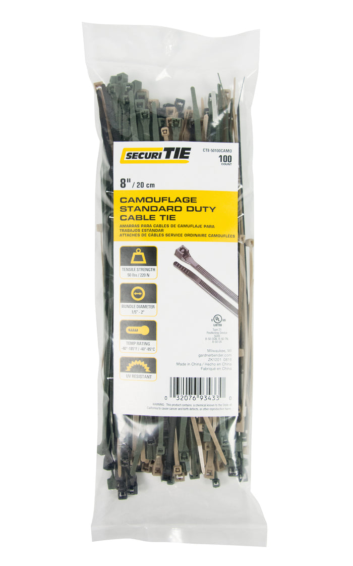 "Gardner Bender CT8-50100CAMO Cable Tie 8"" 50lb UV TN OGN; 100/Bag"