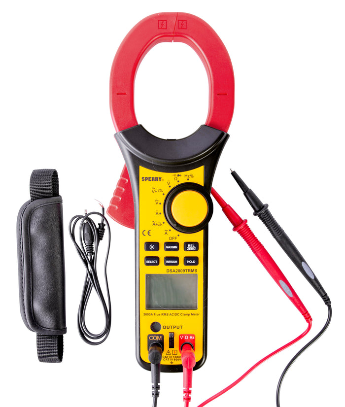 Sperry Instruments DSA2009TRMS Digital Clamp Meter, 2000A AC/DC, TRMS