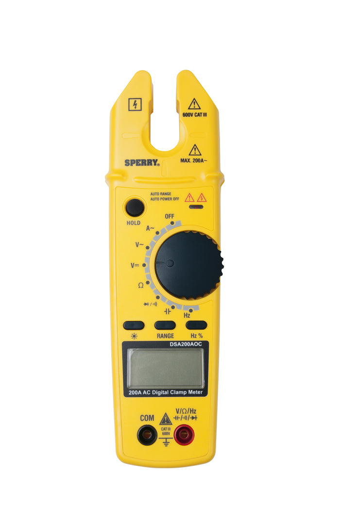 Sperry Instruments DSA200AOC Digital Clamp Meter, Open Jaw, 200A AC