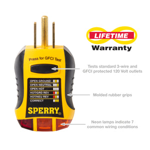 Sperry Instruments GFI6302N GFCI Outlet Tester