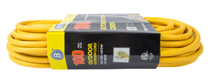 Bergen Industries OC100123LT Extension Cord 100ft  SJTW Yellow  12/3  Lighted End