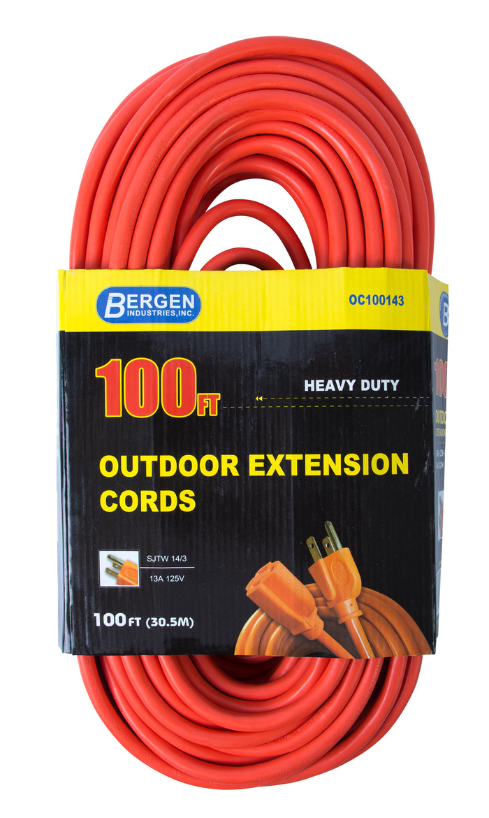 Bergen Industries OC100143 Extension Cord 100ft  SJTW Orange  14/3