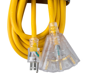 Bergen Industries OC251233T Extension Cord 25ft  SJTW Yellow  12/3  Lighted End  Triple Tap