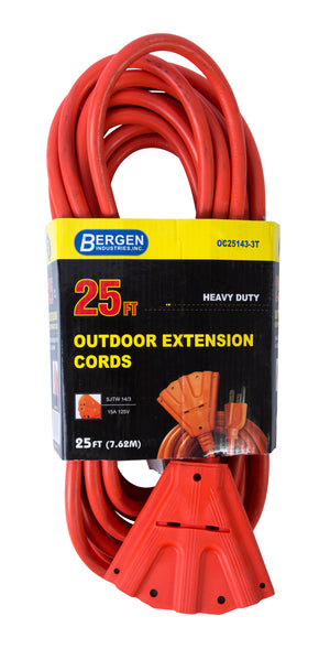 Bergen Industries OC251433T Extension Cord 25ft  SJTW Orange  14/3 Triple Tap