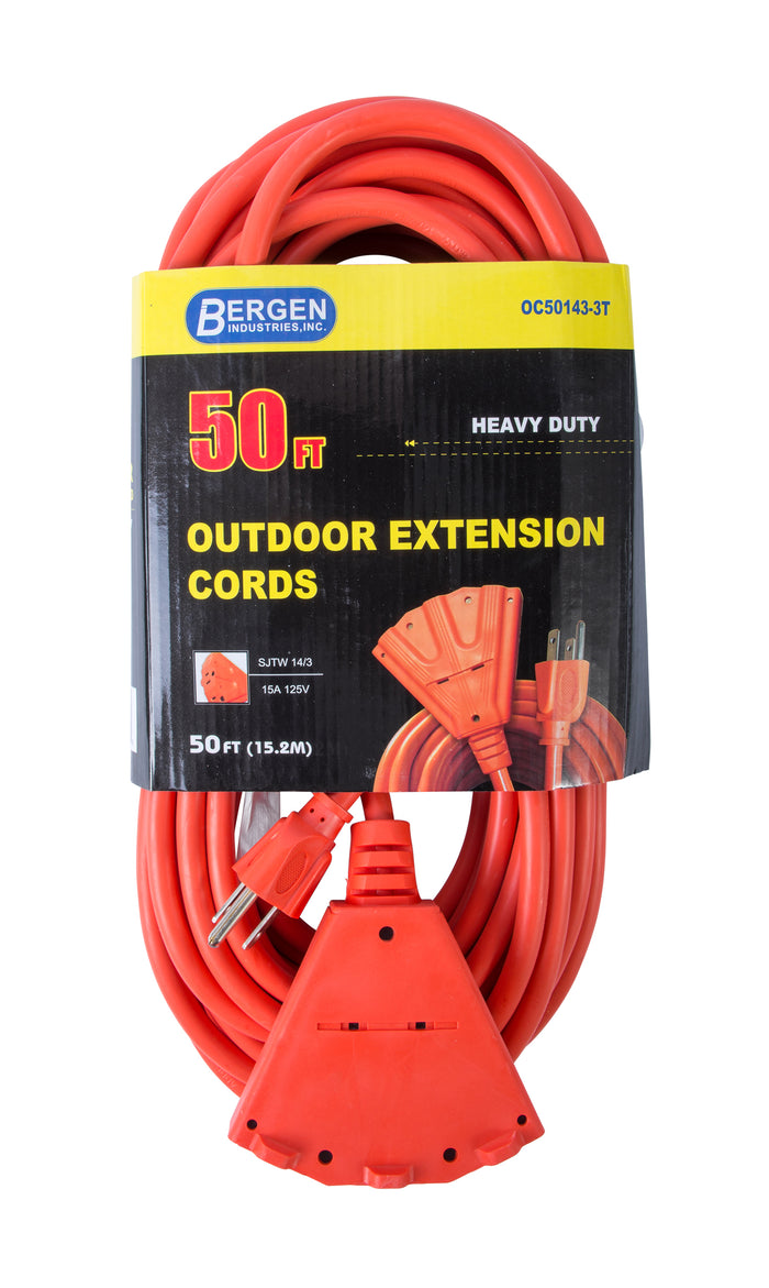 Bergen Industries OC501433T Extension Cord 50ft  SJTW Orange  14/3  Triple Tap
