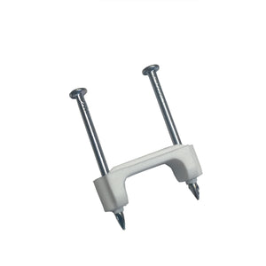Gardner Bender PS-750B 1/2 in (13 mm), Plastic Polyethylene NM Cable Staple, Zinc Plated Nail, White, (2000/Bucket)