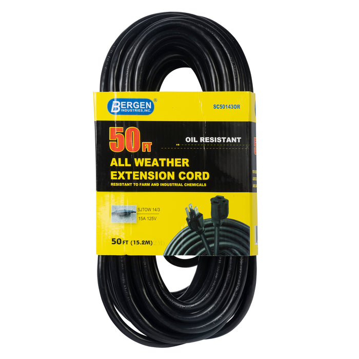 Bergen Industries SC50143OR Extension Cord 50FT. 14/3 AWG  SJTOW Single outlet Oil Resistant ETL/CETL